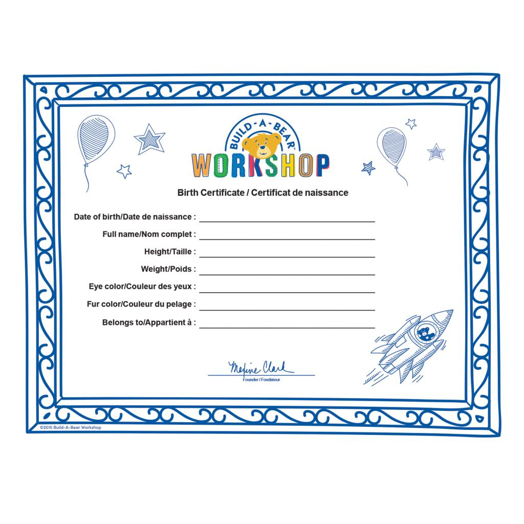 Build A Bear Birth Certificate Template 2
