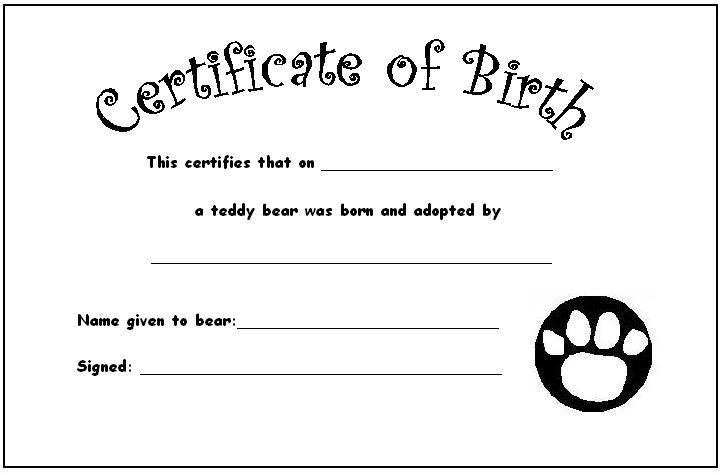 Build A Bear Birth Certificate Template 5