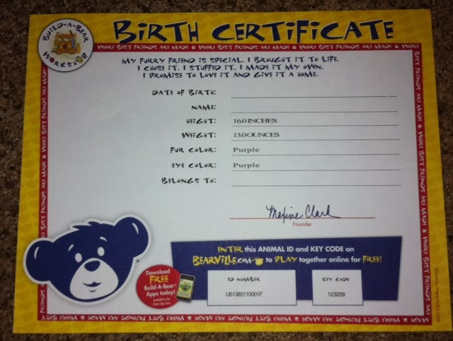 Build A Bear Birth Certificate Template 7
