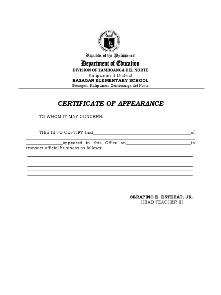 Certificate Of Appearance Template 2