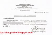 Certificate Of Appearance Template 4