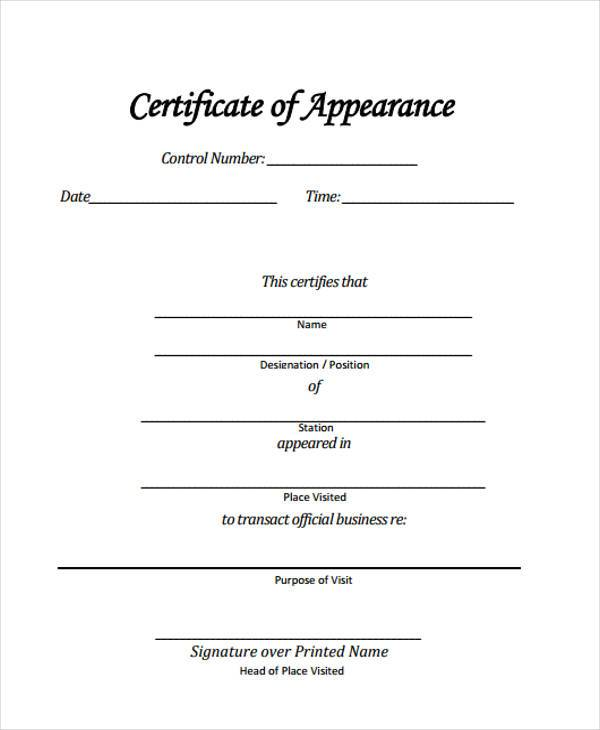 Certificate Of Appearance Template 5