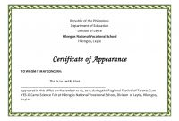 Certificate Of Appearance Template 6