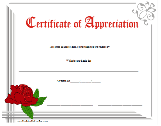 Certificate Of Appreciation Template Free Printable 9