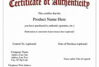 Certificate Of Authenticity Template 2