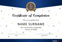 Certificate Of Completion Free Template Word 12