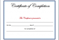 Certificate Of Completion Free Template Word 2