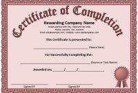 Certificate Of Completion Free Template Word 5