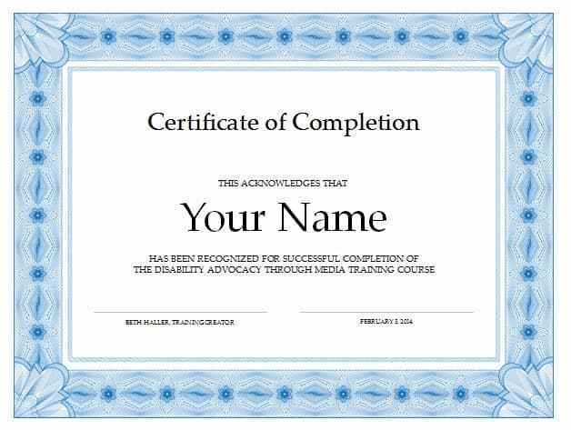 Certificate Of Completion Free Template Word 8