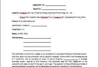 Certificate Of Conformity Template 5