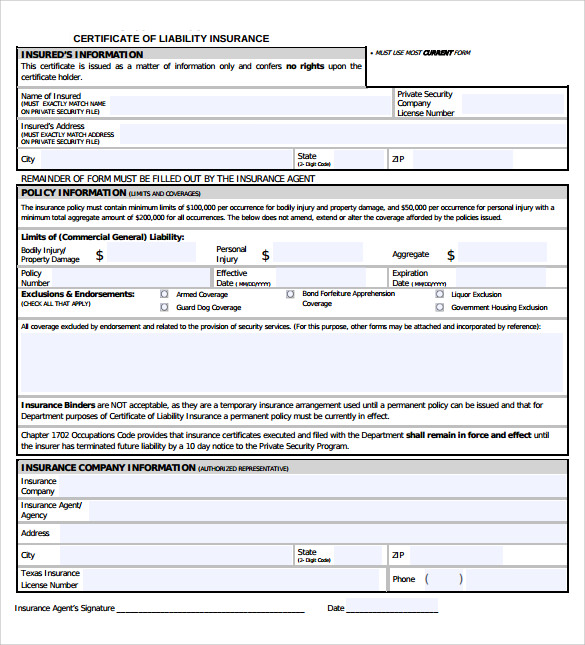 Certificate Of Liability Insurance Template 7