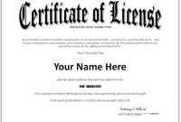 Certificate Of License Template 2