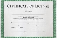 Certificate Of License Template 7