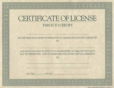 Certificate Of License Template