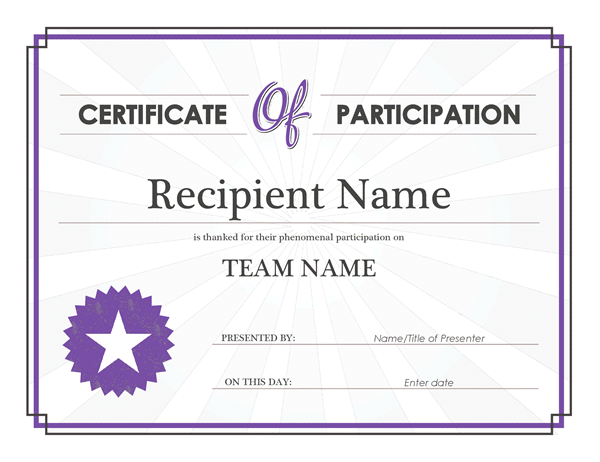 Certificate Of Participation Template Doc 2
