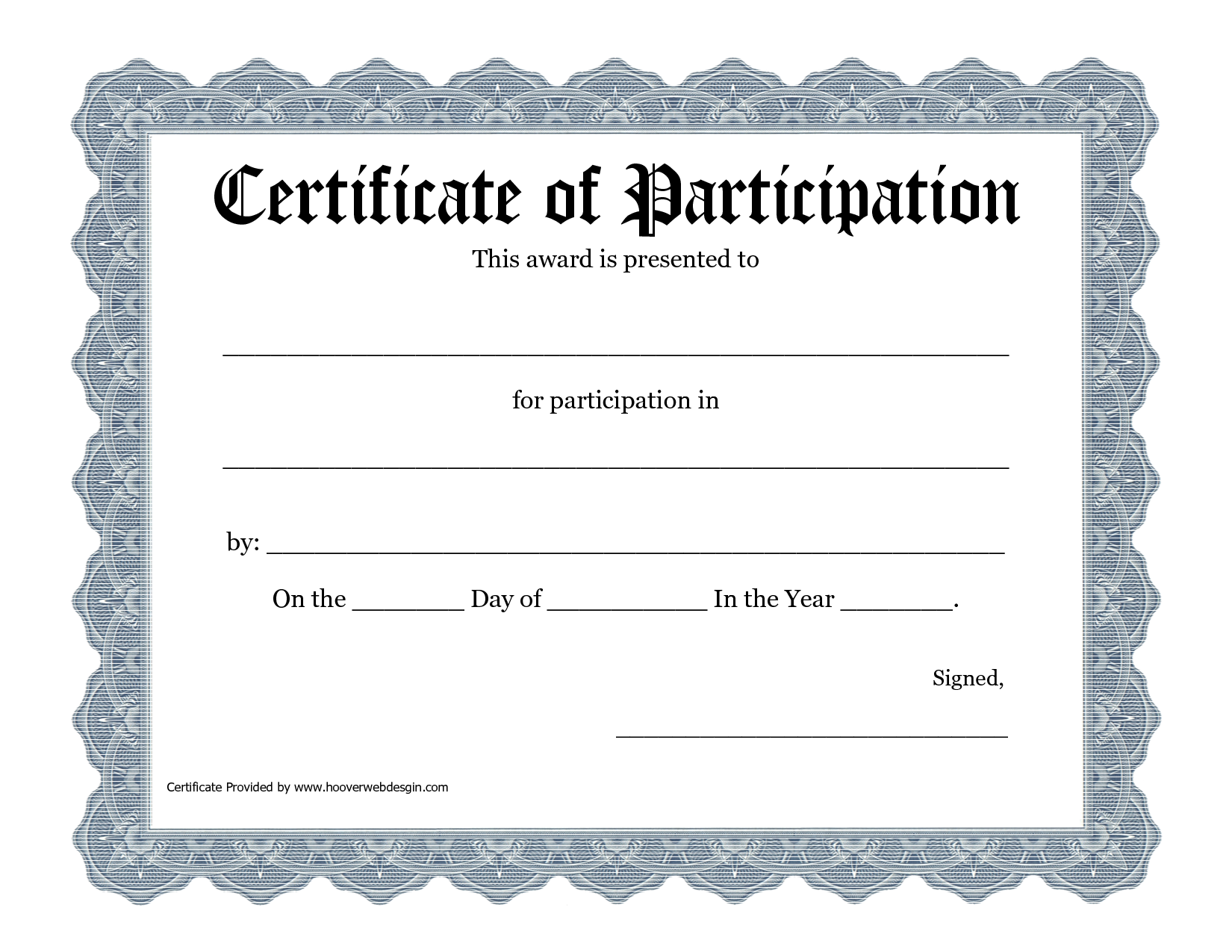 Certificate Of Participation Template Doc 6