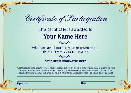 Certificate Of Participation Template Pdf 11