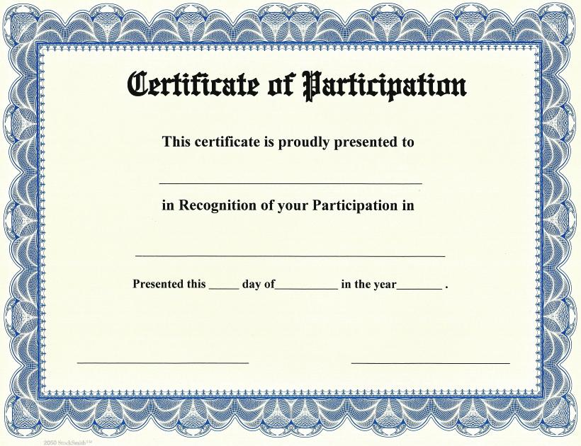 Certificate Of Participation Template Pdf 2