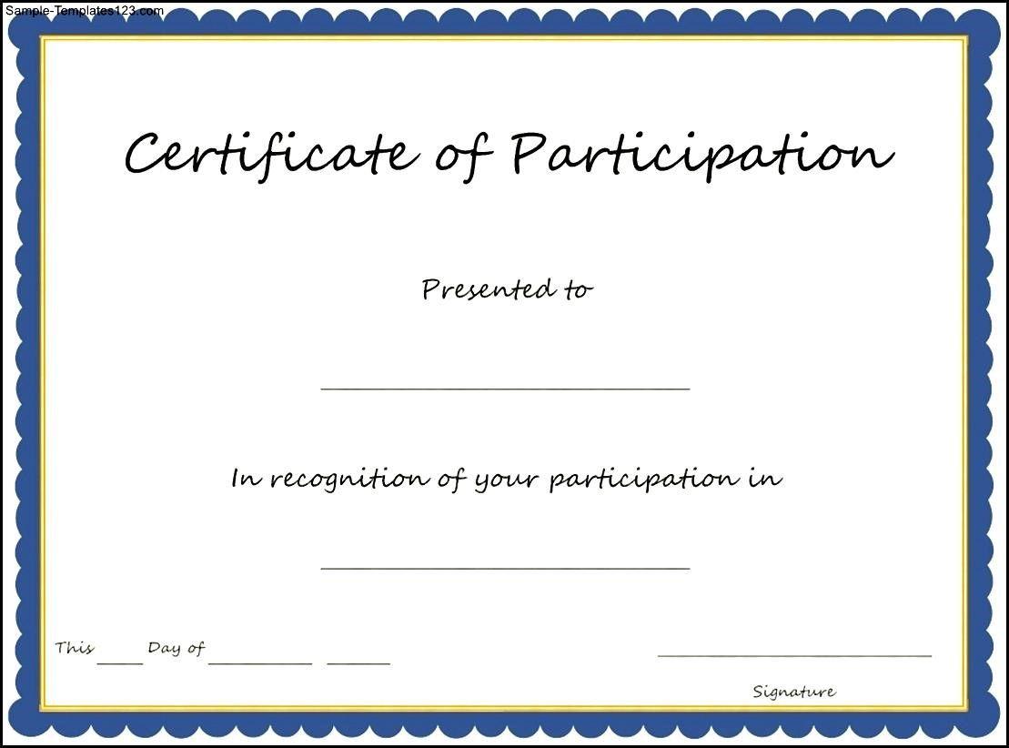 Certificate Of Participation Template Pdf 6