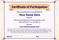 Certificate Of Participation Template Pdf 7