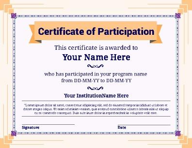 Certificate Of Participation Template Pdf 7
