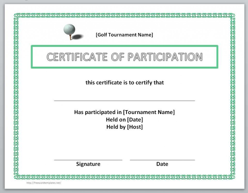 Certificate Of Participation Word Template 10