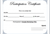Certificate Of Participation Word Template 2
