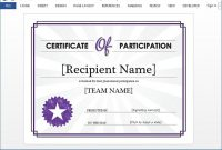 Certificate Of Participation Word Template 3
