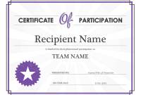 Certificate Of Participation Word Template 8