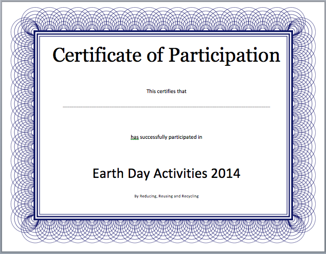 Certificate Of Participation Word Template