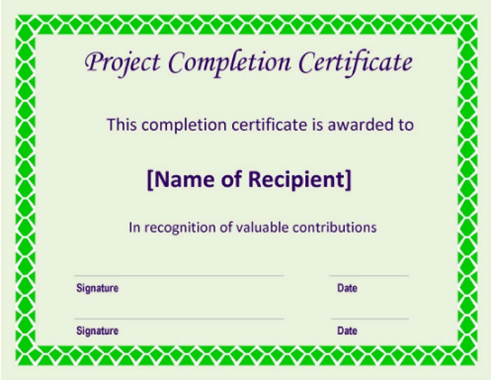 Certificate Template For Project Completion 8