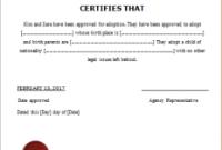 Child Adoption Certificate Template 2