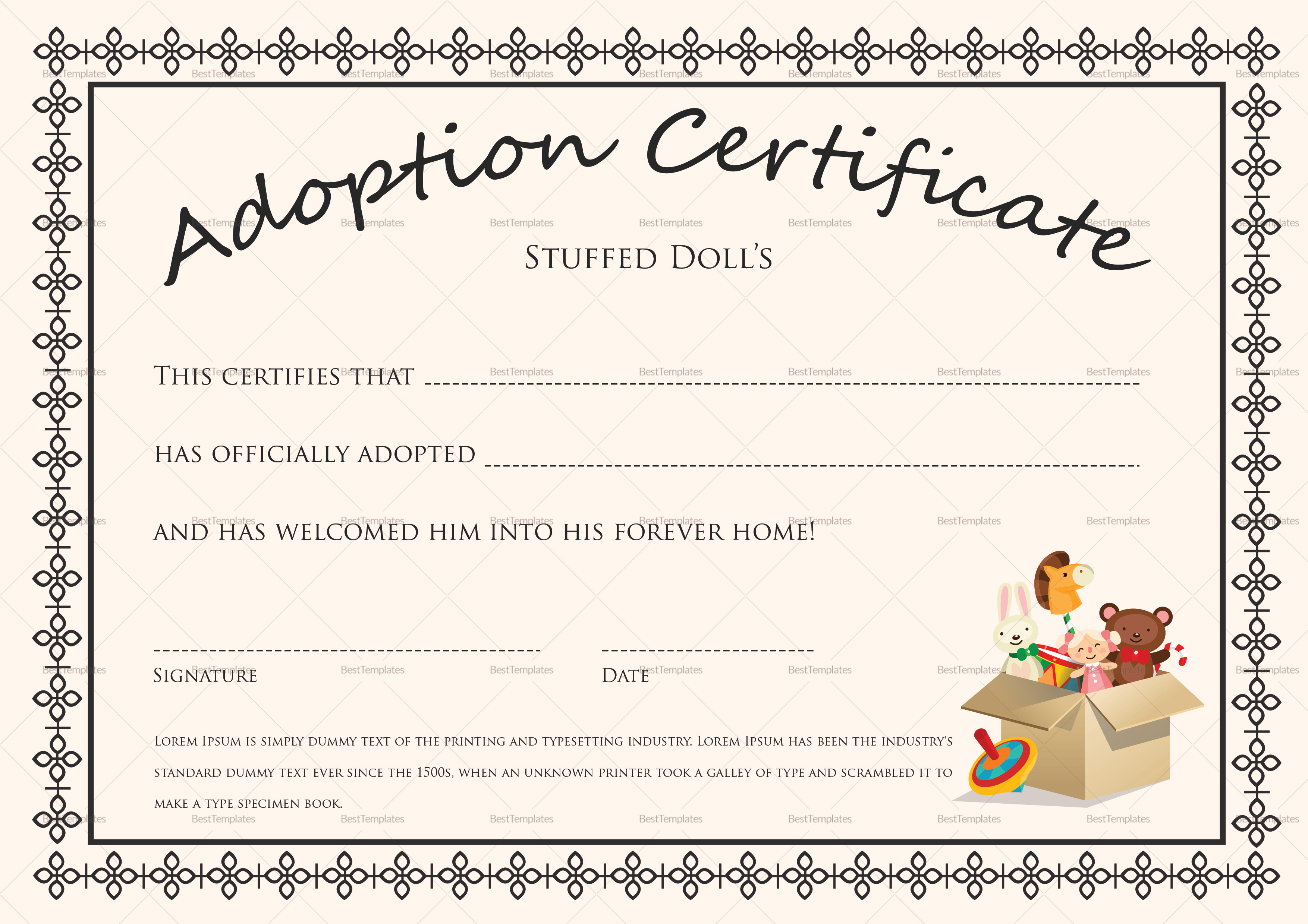 Child Adoption Certificate Template 8