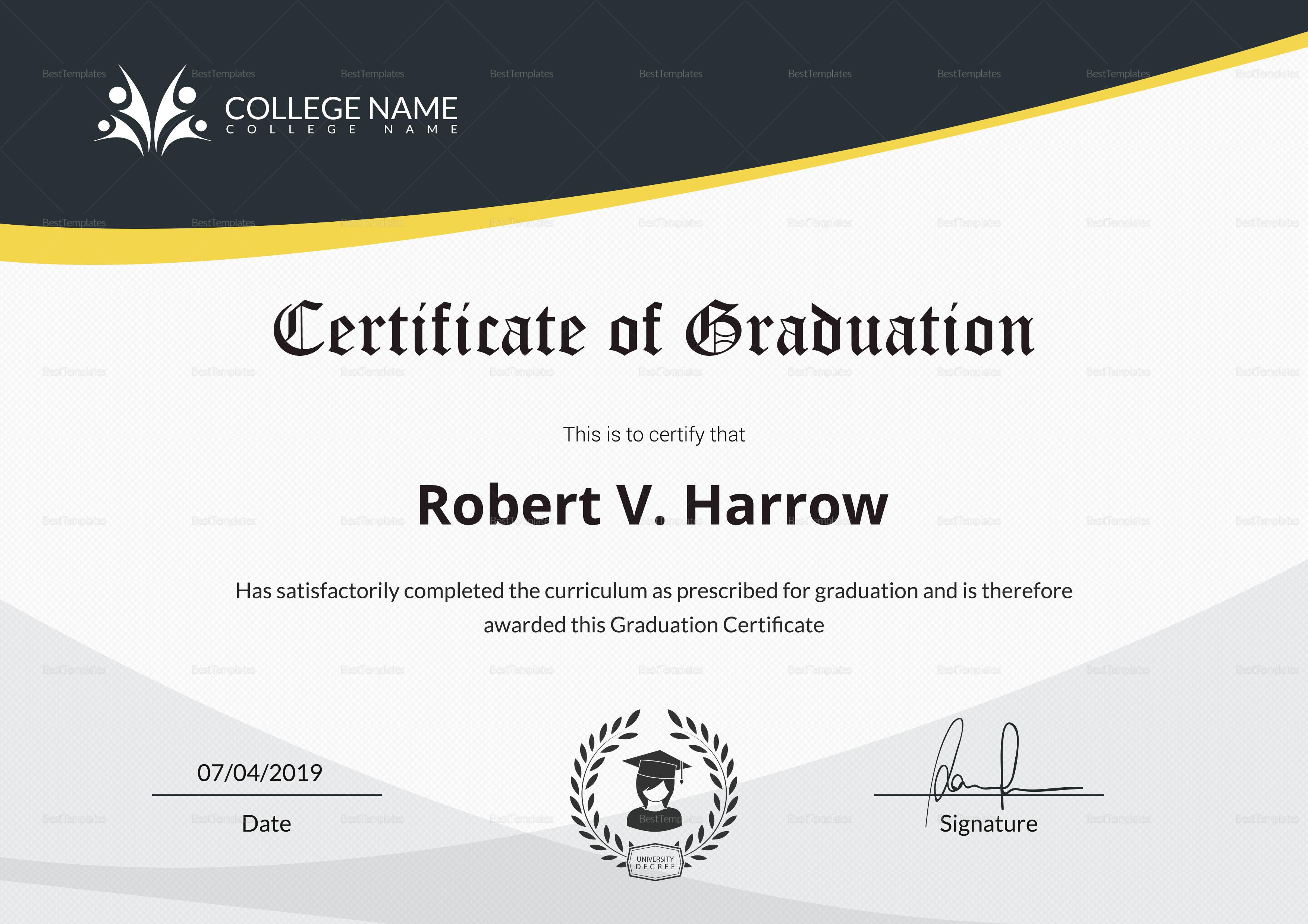 College Graduation Certificate Template 2