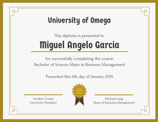 College Graduation Certificate Template 5