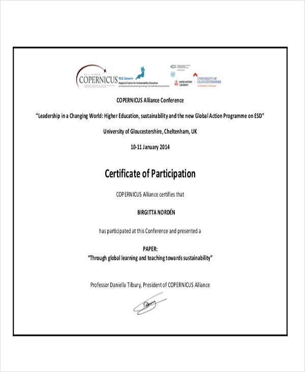 Conference Participation Certificate Template 8