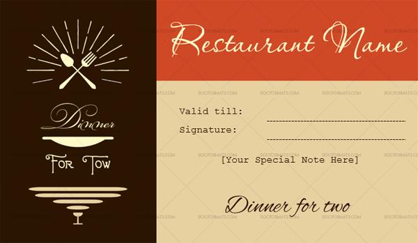 Dinner Certificate Template Free 8