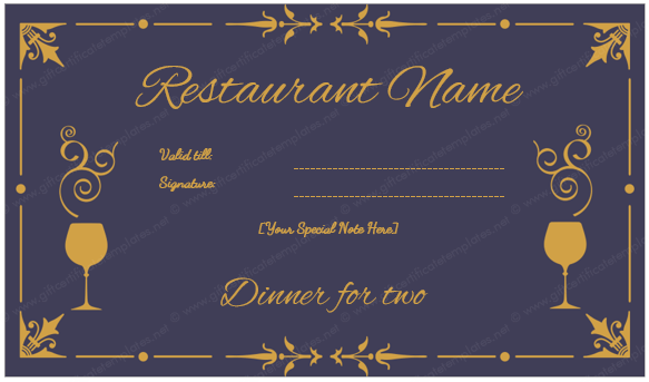 Dinner For Two Certificate Gift Certificate Template