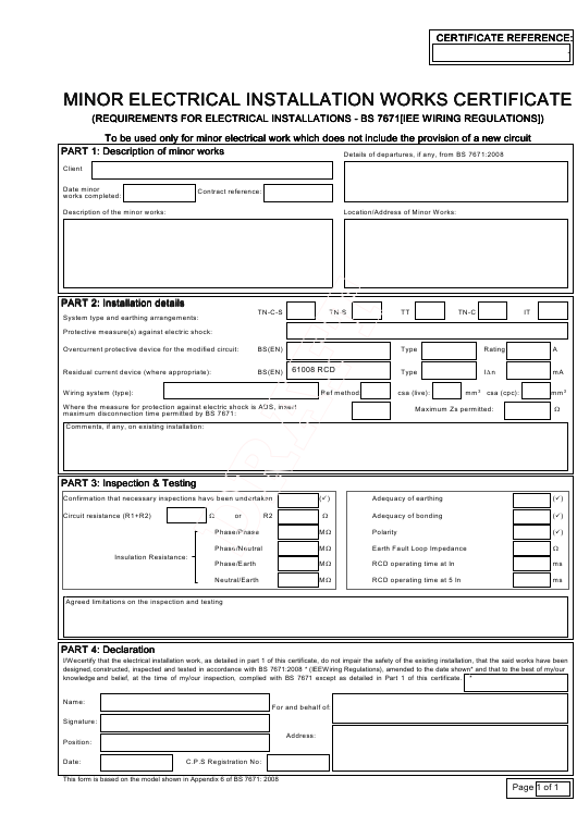 Electrical Minor Works Certificate Template 6