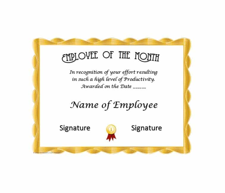Employee Of The Month Certificate Template With Picture 6