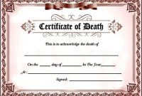 Fake Death Certificate Template For Free