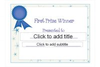First Place Certificate Template 5