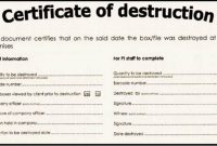 Free Certificate Of Destruction Template 3