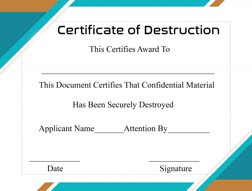 Free Certificate Of Destruction Template 4