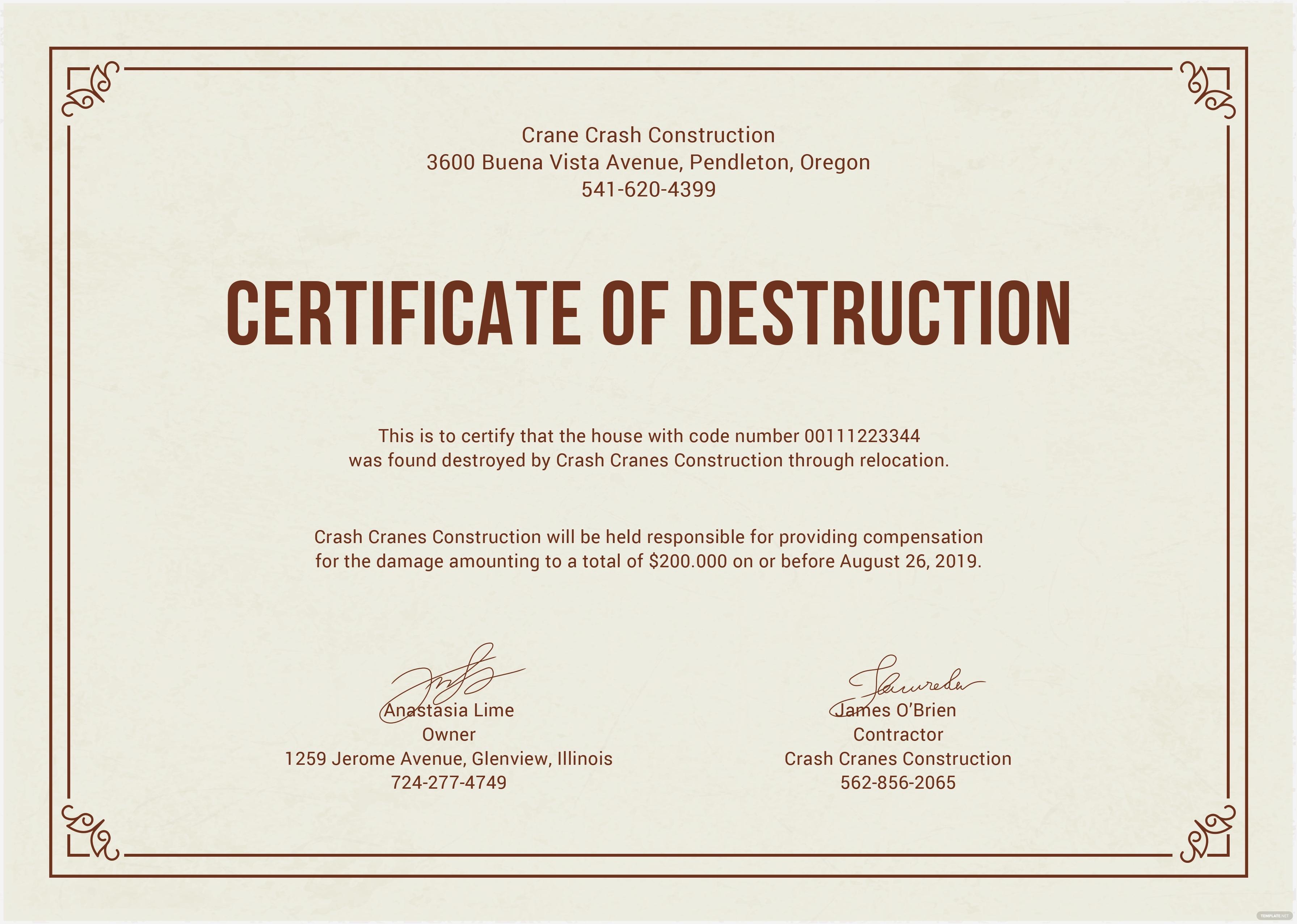 Free Certificate Of Destruction Template 5