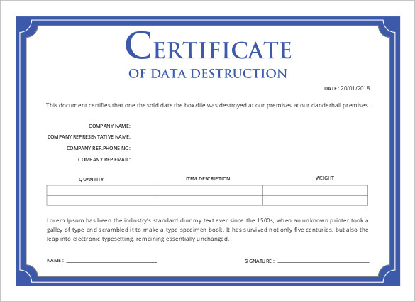 Free Certificate Of Destruction Template 6