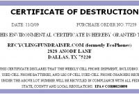 Free Certificate Of Destruction Template 7