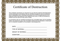 Free Certificate Of Destruction Template 9