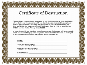 Free Certificate Of Destruction Template 9
