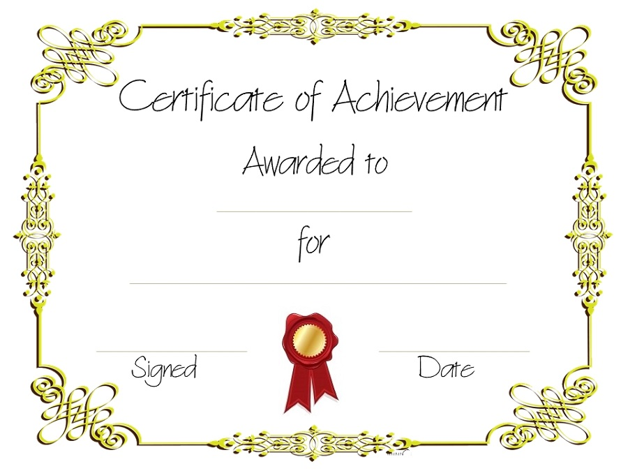 Free Printable Certificate Of Achievement Template 6